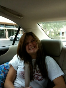 Jessica in car driving-always smiling